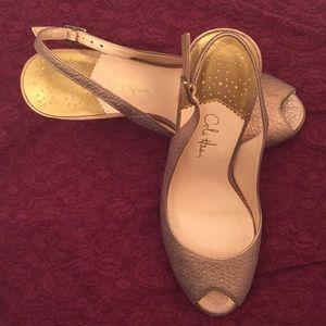 Cole Haan bronze gold leather slingback heels 6.5B